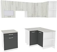 Готовая кухня ВерсоМебель Эко-6 1.2x2.2 правая (дуб крафт белый/антрацит) -