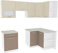 Готовая кухня ВерсоМебель Эко-6 1.2x2.2 правая (латте/бежевый) -