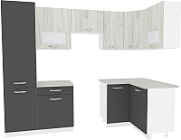 Готовая кухня ВерсоМебель Эко-6 1.2x2.7 правая (дуб крафт белый/антрацит) -