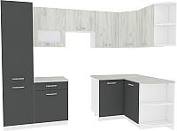 Готовая кухня ВерсоМебель Эко-6 1.3x2.8 правая (дуб крафт белый/антрацит) -
