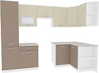 Готовая кухня ВерсоМебель Эко-6 1.3x2.8 правая (латте/бежевый) -
