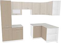 Готовая кухня ВерсоМебель Эко-6 1.3х2.8 правая (крослайн латте/крослайн карамель) -
