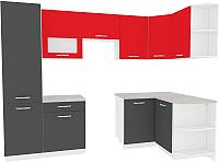 Готовая кухня ВерсоМебель Эко-6 1.3x2.8 правая (антрацит/красный чили) -