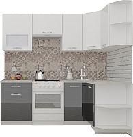 Готовая кухня ВерсоМебель ЭкоЛайт-5 1.2x2.1 правая (белый/черный графит) -