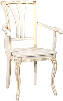Стул Оримэкс Марсель-2 (жесткое сиденье/беленый дуб с бронзовой патиной/резьба) -