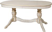 Обеденный стол Оримэкс Рондо-Б (беленый дуб с бронзовой патиной/резьба) -