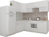 Готовая кухня ВерсоМебель ЭкоЛайт-5 1.4x2.2 правая (белый/белый) -