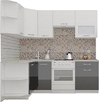 Готовая кухня ВерсоМебель ЭкоЛайт-5 1.2x2.1 левая (белый/черный графит) -