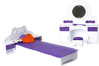 Комплект аксессуаров для кукольного домика Огонек Мебель для спальни. Конфетти / С-1331 -