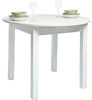Обеденный стол Рамзес Раздвижной круглый ЛДСП 94-124x94 (белый текстурный/ноги квадро белые) -