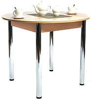 Обеденный стол Рамзес Раздвижной ЛДСП 94-124x94 (дуб сонома светлый/ноги хром) -
