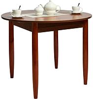 Обеденный стол Рамзес Раздвижной круглый ЛДСП 94-124x94 (орех эко ноче/ноги конус мореные кр. орех) -
