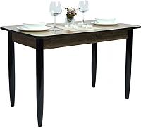 Обеденный стол Рамзес Раздвижной прямоугольный ЛДСП 110-140x70 (дуб сонома темный/ноги конусные венге) -