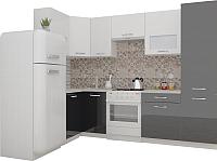 Готовая кухня ВерсоМебель ЭкоЛайт-5 1.4x2.6 левая (белый/черный графит) -