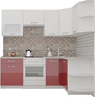 Готовая кухня ВерсоМебель ЭкоЛайт-6 1.2x2.2 правая (белый/рубиново-красный) -