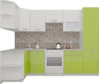 Готовая кухня ВерсоМебель ЭкоЛайт-6 1.3x2.8 правая (белый/лайм яркий) -