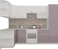 Готовая кухня ВерсоМебель ЭкоЛайт-6 1.3x2.8 правая (белый/глициния) -
