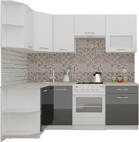 Готовая кухня ВерсоМебель ЭкоЛайт-6 1.2x2.2 левая (белый/черный) -