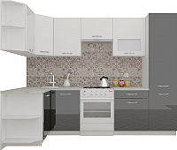 Готовая кухня ВерсоМебель ЭкоЛайт-6 1.3x2.8 левая (белый/черный) -