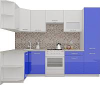 Готовая кухня ВерсоМебель ЭкоЛайт-6 1.3x2.8 левая (белый/глубокий синий) -