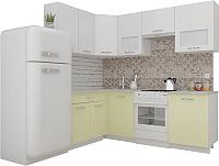 Готовая кухня ВерсоМебель ЭкоЛайт-6 1.4x2.3 левая (белый/ваниль) -