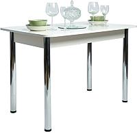 Обеденный стол Рамзес Раздвижной прямоугольный 110-140x70 (пластик 0029/глянец белый/ноги хром) -