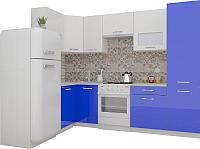Готовая кухня ВерсоМебель ЭкоЛайт-6 1.4x2.7 левая (белый/глубокий синий) -