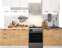 Готовая кухня ДСВ Дуся 2.0 (белый глянец/дуб бунратти) -