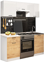 Готовая кухня ДСВ Дуся-2 1.6 (белый глянец/дуб бунратти) -
