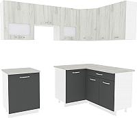 Готовая кухня ВерсоМебель Эко-6 1.4x2.3 правая (дуб крафт белый/антрацит) -