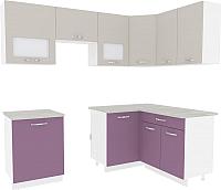 Готовая кухня ВерсоМебель Эко-6 1.4x2.3 правая (виола/кашемир) -