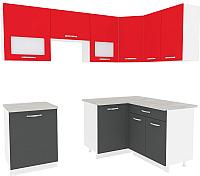 Готовая кухня ВерсоМебель Эко-6 1.4x2.3 правая (антрацит/красный чили) -
