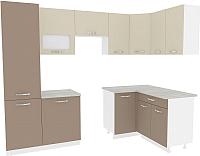 Готовая кухня ВерсоМебель Эко-6 1.4х2.7 правая (латте/бежевый) -