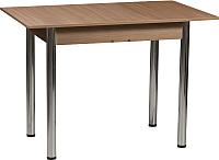 Обеденный стол Рамзес Раздвижной ЛДСП 110-140x70 (дуб сонома темный/ноги хром) -