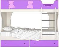 Двухъярусная кровать Артём-Мебель СН 108.01 (сосна-сиреневый/мишутка) -