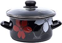 Кастрюля Omelia 1-2225112 / 89935 (черный/красно-белый цветок) -
