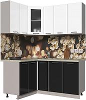 Готовая кухня Интерлиния Мила Пластик 1.2x1.7 (черный глянец/белый глянец/опал светлый) -