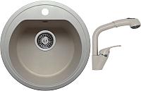 Мойка кухонная Polygran F-05 + смеситель Высокая лейка (серый) -
