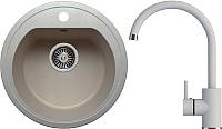 Мойка кухонная Polygran F-05 + смеситель Элара (серый) -