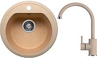 Мойка кухонная Polygran F-05 + смеситель Элара (песочный) -