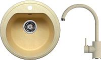 Мойка кухонная Polygran F-05 + смеситель Элара (опал) -