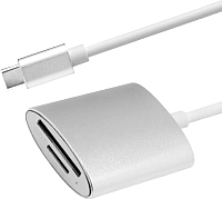 Адаптер Atom USB Type-C 3.1 - Micro SD/TF (серебристый) -