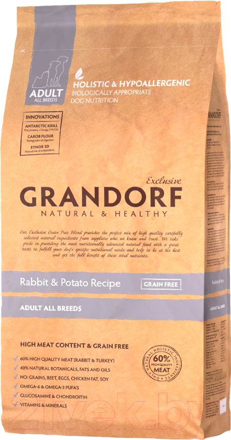 Купить Корм для собак Grandorf, Adult Rabbit&Potato (12кг), Бельгия
