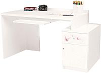 Компьютерный стол ABC-King Фея правый с тумбой / ABC-129-F1-P (белый) -