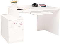 Компьютерный стол ABC-King Фея левый с тумбой / ABC-129-Y1-SW (белый) -