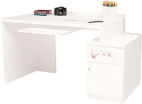 Компьютерный стол ABC-King Фея правый с тумбой / ABC-129-P1-SW (белый) -