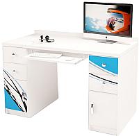 Компьютерный стол ABC-King La-Man с 2 тумбами / ABC-122-L (голубой) -
