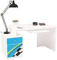 Компьютерный стол ABC-King La-Man левый с тумбой / ABC-129-Y1B (голубой) -