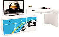 Компьютерный стол ABC-King La-Man левый с 3 тумбами / ABC-129-Y3B (голубой) -