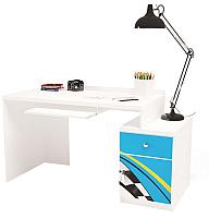 Компьютерный стол ABC-King La-Man правый с тумбой / ABC-129-P1B (голубой) -